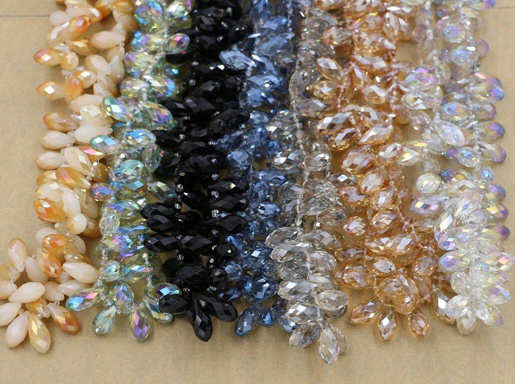 Heißer Verkauf! 100 stücke Facettierte Teardrop Kristallglas Lose Perlen 10 * 20mm Schmuck DIY 7-color