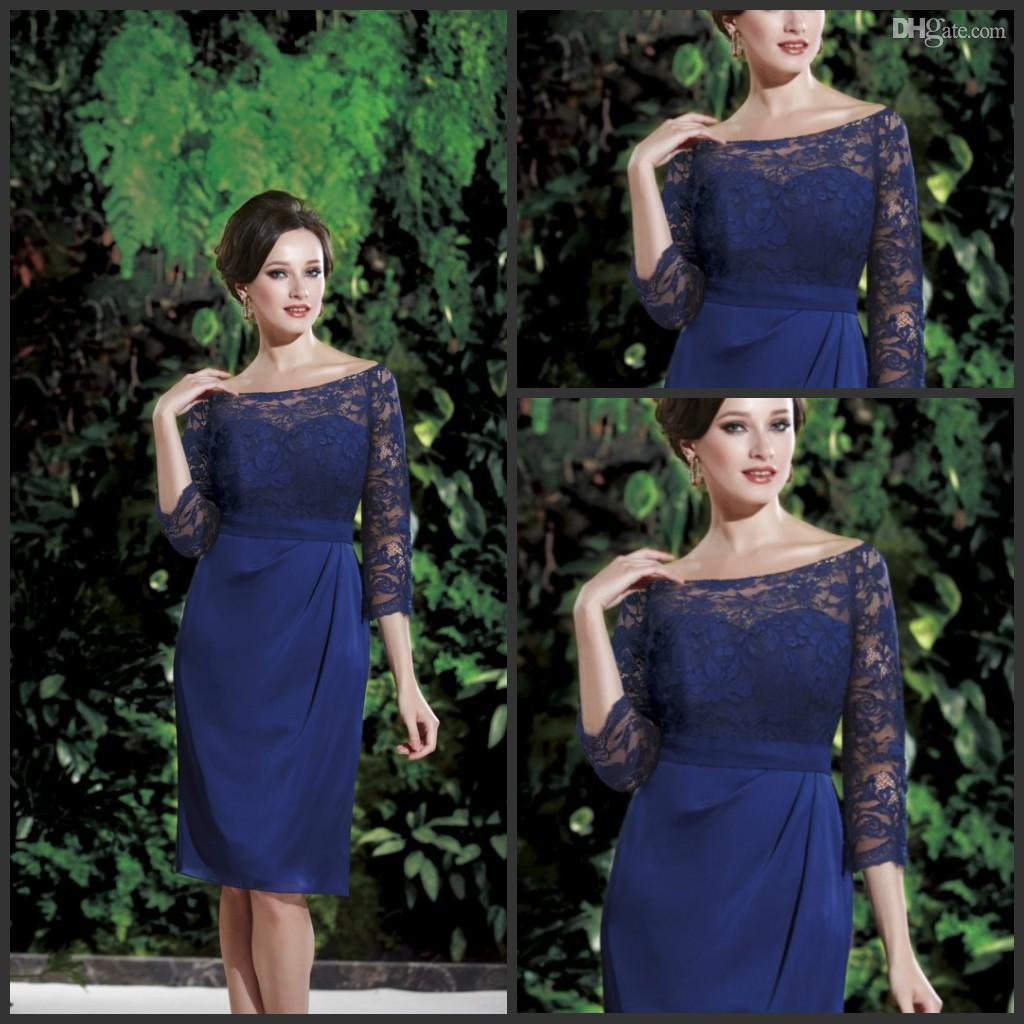 Custom Made Blue Bateau Long Sleeve Sheath Jasminebridal Mother Of ...