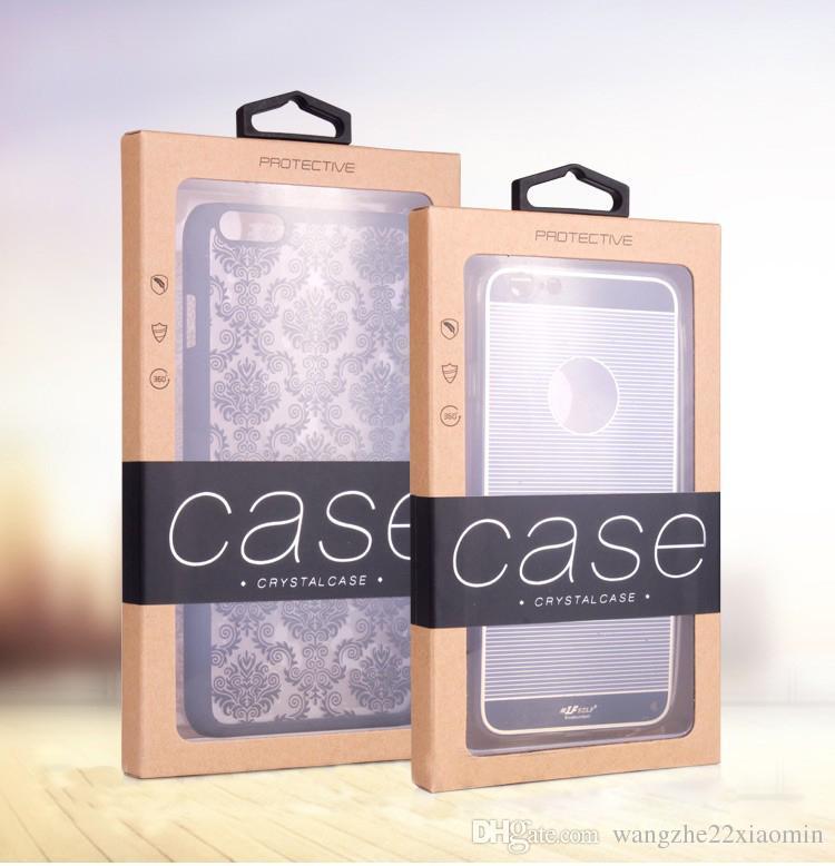 Venta al por mayor de logotipo personalizado caja de embalaje al por menor caja de embalaje de papel Karft para iPhone 8 XS MAX Samsung S10 para la cubierta de la caja del teléfono