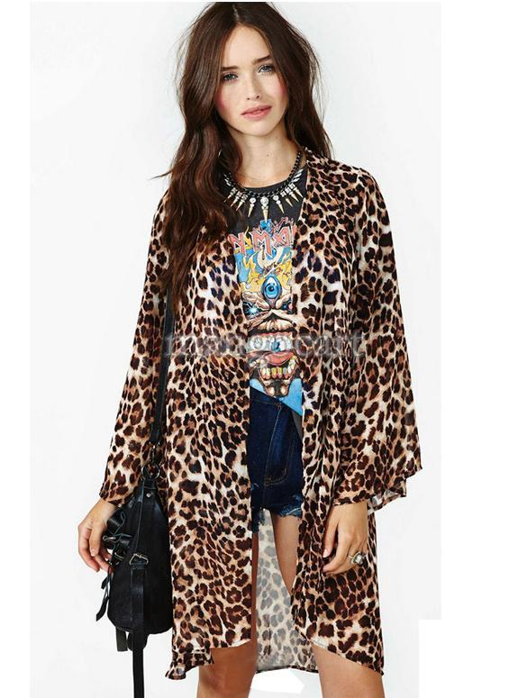 Drop Shipping Sexy Leopard Chiffon Cardigan Long Shirt Batwing ...