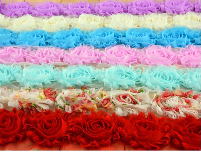 Sale BY YARDS ! hair band accessories! 65MM Shabby flash chiffon roses/sunflowers /brooch /shoes flower / hat flower /60YARDS/
