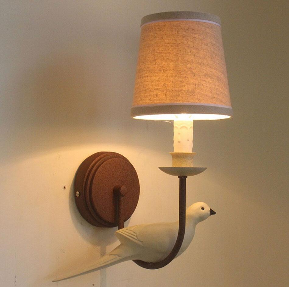 간략한 미국 목가적 인 새 모양 벽 램프 E14 크리 에이 티브 침실 / 바 / Decors 천을 전등 갓 레트로 벽 조명