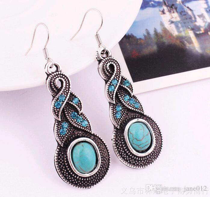 Fashion Vintage Pattern Blue Crystal Turquoise Pendant Jewelry Sets Earrings Necklace For Party Women Dresses Accessories Cheap 50 Wholesale