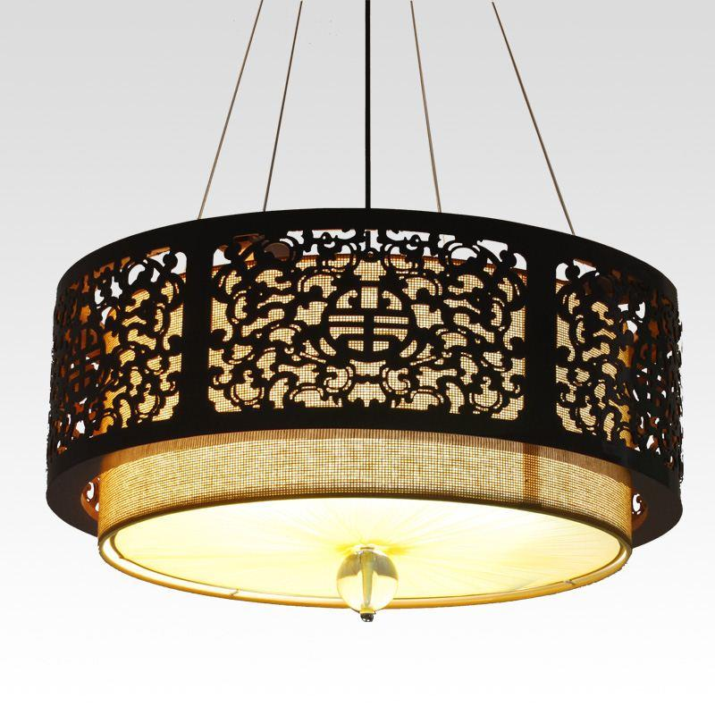 Modern Chinese Style Wood Carving Large Pendant Light