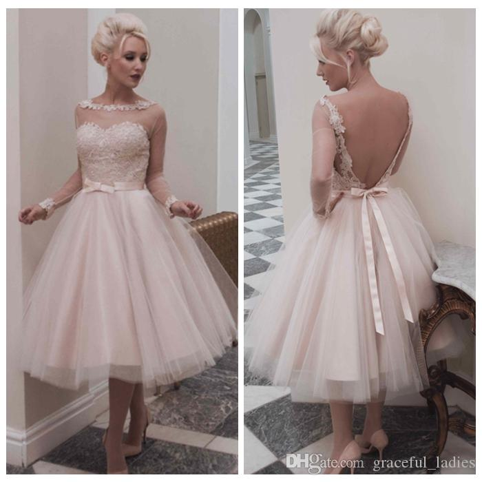 Champagne Vintage Wedding Dresses: Discount Vintage Champagne Short Wedding Dress Long