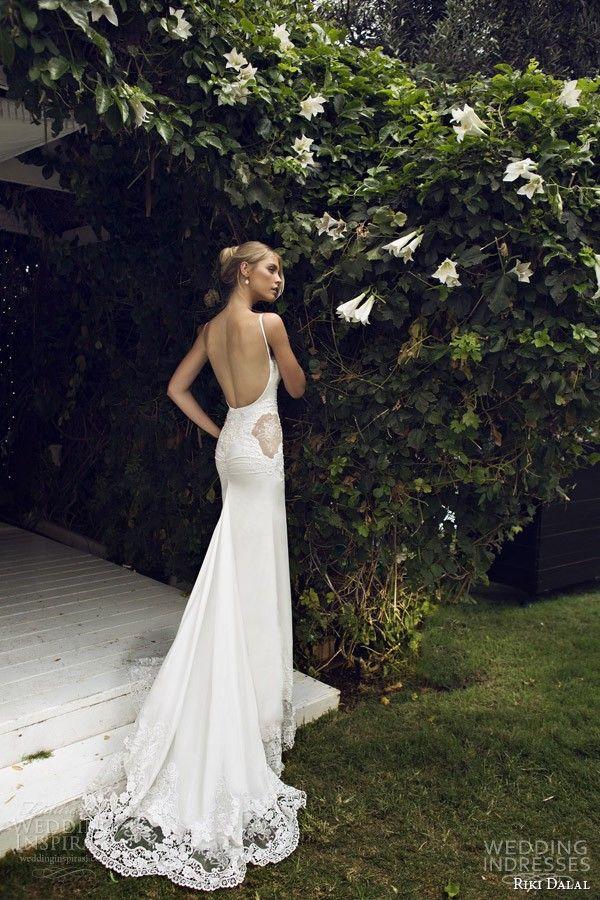 Bohemian Riki Dalal Sexy Backless Suknie Ślubne Spaghetti Paski Sweep Lace Lace Appliqued 2015 New Arrival Płaszcz ślubnych suknie ślubne