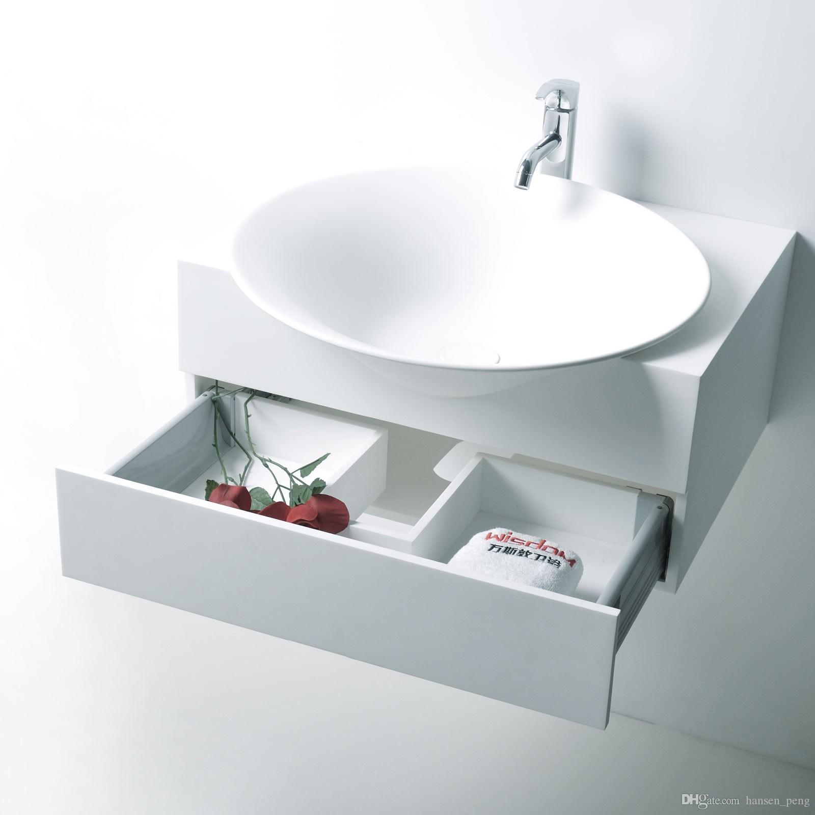 Rectangular Bathroom Solid Surface Stone Wall hung Sink Fashionable Cloakroom Stone Matt Or Glossy Wash Basin RS3872