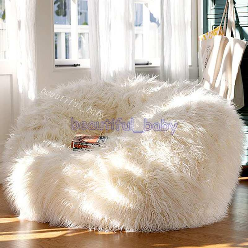 Best Sofa Set Living Room Furniture Luxe Bean Bag Faux Fur Adult ...