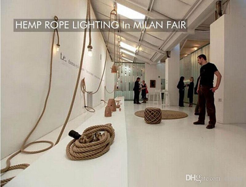 Новый дизайн ретро одиночные головки веревки подвесные светильники чердак старинные лампы ресторан спальня столовая подвесной светильник ручной вязаный пеньки веревки свет