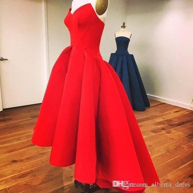 Red Vintage Hi-Lo Prom Dresses Simple Modest A-line Evening Party Gowns Sexy Sweetheart Zipper Back Ruffled Satin Cheap Formal Gown 2015 New
