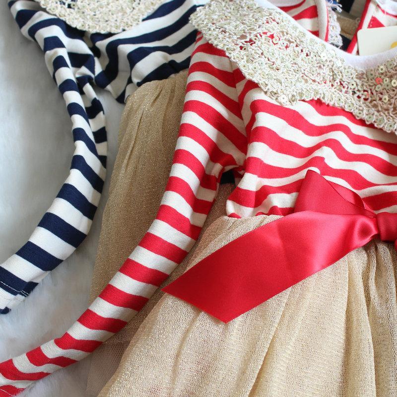 Automne chiristmas tutu enfants filles robe de paillette vivi robe filles rouge et blanc robe de tutu à rayures manches longues paillettes collier filles dentelle d