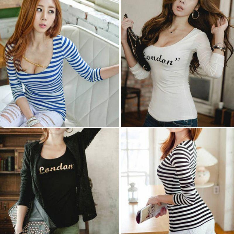 14bf88233ae Women's Long Sleeve T Shirt Body Tops Tight Fit U-Neck Design Long ...