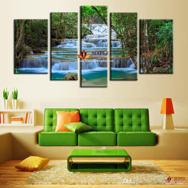5 Panel Canvas Art Waterfall Painting Wall Picture Artwork Home Decoration Living  Room Canvas Print Painting Large Wall Art Cheap UK 2019 From Maplepainting  ... 710d2ec48
