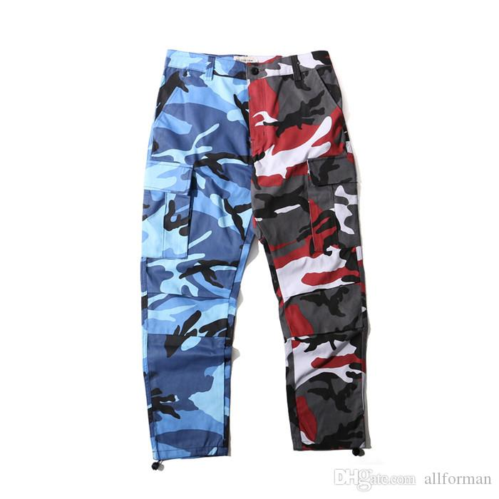 Camo Cargo Pants for Mens Fashion Baggy Tactical Trouser 2018 Hip Hop Camouflage Military Multi Pockets Capris Guys Male Joggers Streetwear