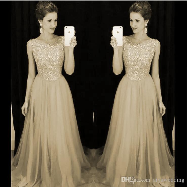 2019 robes de demoiselle d'honneur de corail de luxe robes de bal Bling une ligne scoop avec des perles et des strass Zipper Retour robes longues robes de soirée