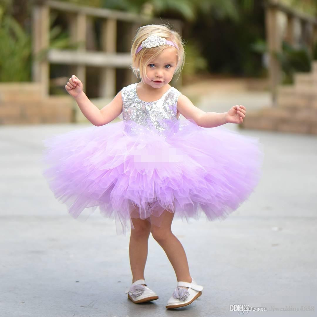 Cute Short Baby Child Wedding Party Dress Puffy Tutu Lilac Mint Silver Sequins with Bow 2018 Cheap Flower Girls' Dresses Knee Length
