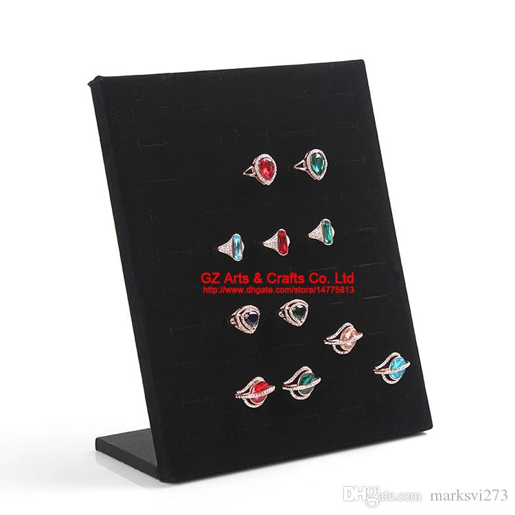 High-end Grey/Black/Rose Velvet Ring Earrings Stud Mobile Dust Plugs Jewelry Display Storage Stand Holder Tray Organizer Board