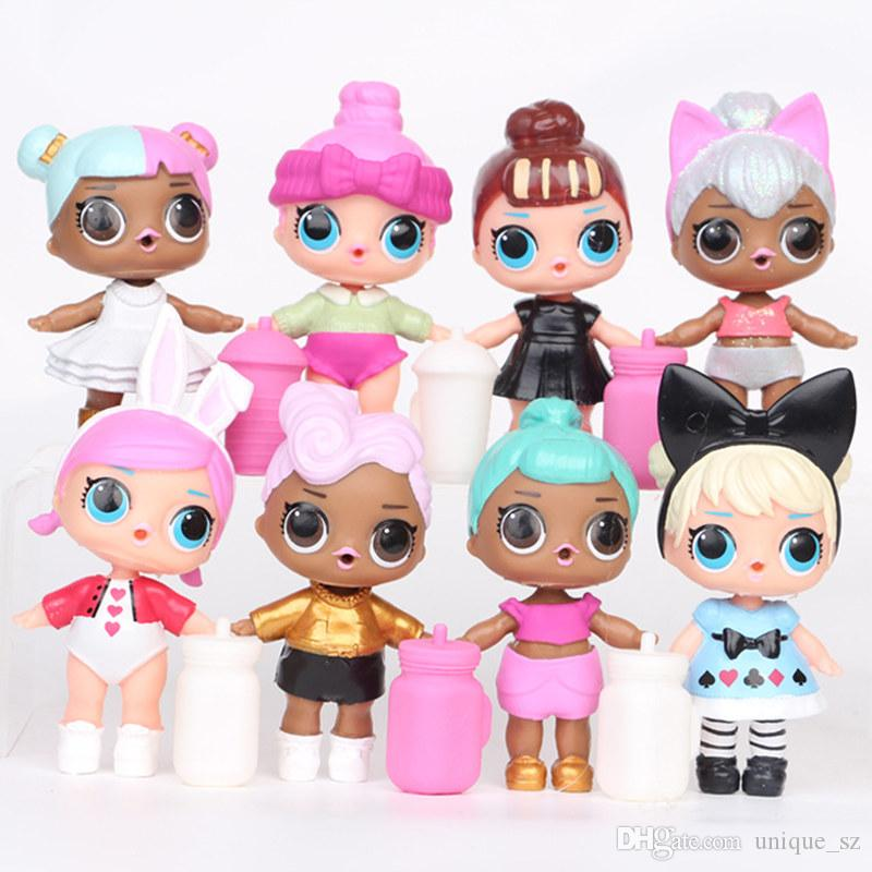 9CM LoL Doll with feeding bottle American PVC Kawaii Children Toys Anime Action Figures Realistic Reborn Dolls for girls 8Pcs/lot