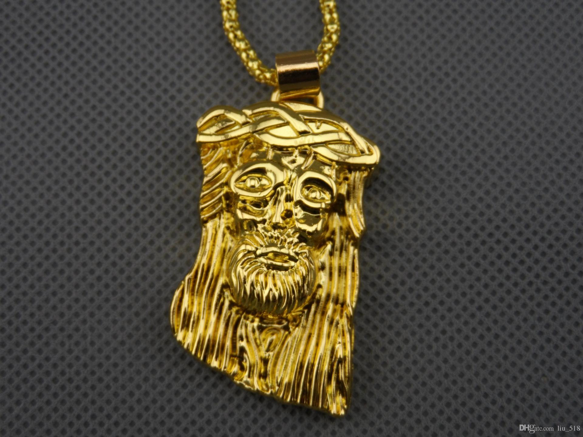 Huai Bei Necklace卸売14 Kゴールド充満イエスヘッドHiphopヒップホップダンス法の役割は味わわれた顔の小さなペンダント