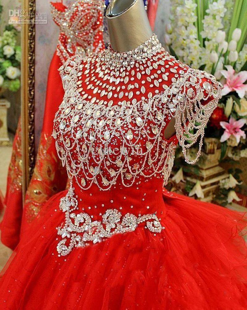 2019 golden globe Mädchen Festzug Kleider Flügelärmeln Perlen Kristalle Festzug Kleider Abend Für Mädchen Tüll kleine Mädchen Rote Blumenmädchen Kleid