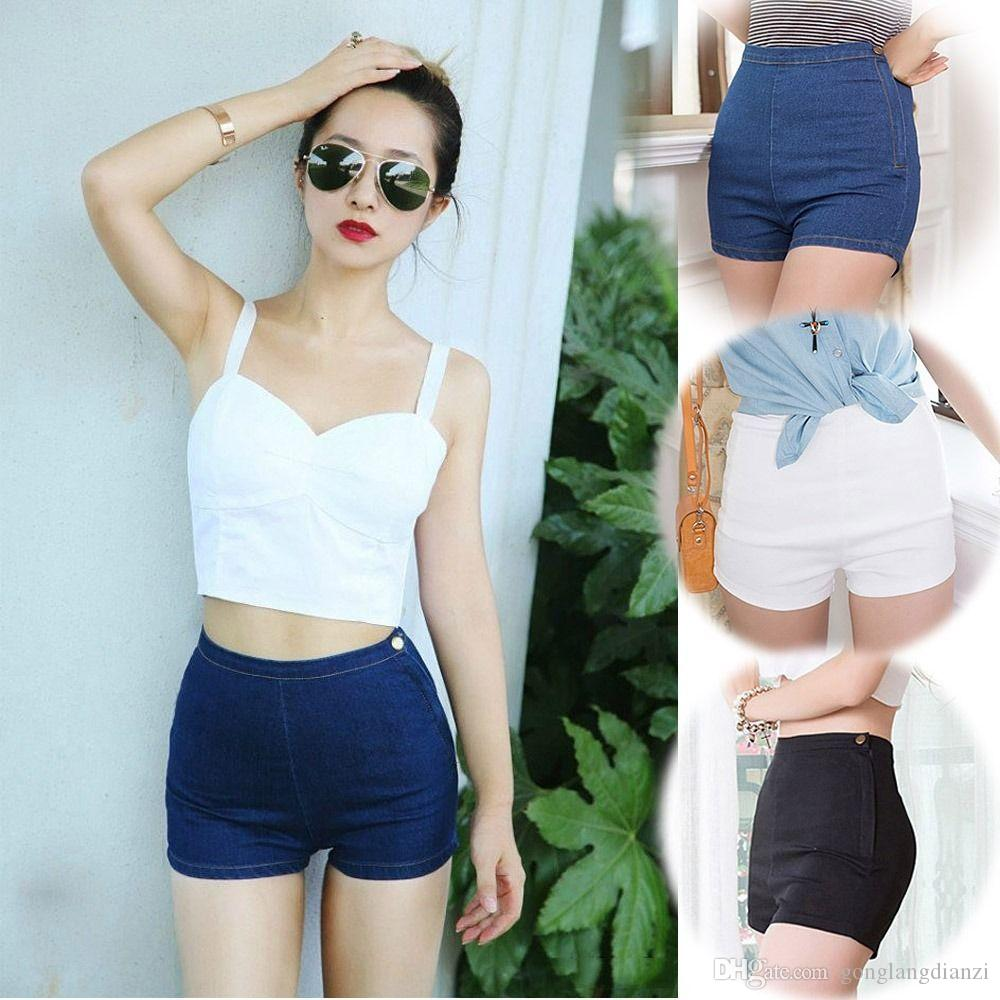 2017 Sexy Girl'S Slim High Waist Jeans Denim Tap Short Hot Pants ...