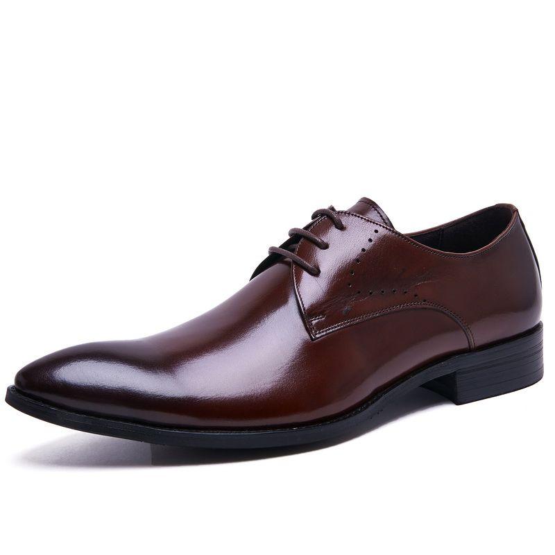 Men's breathable business shoes, the British banquet shoes, lace-up wedding shoes, high-end fashion trend shoes men, large size dress shoes