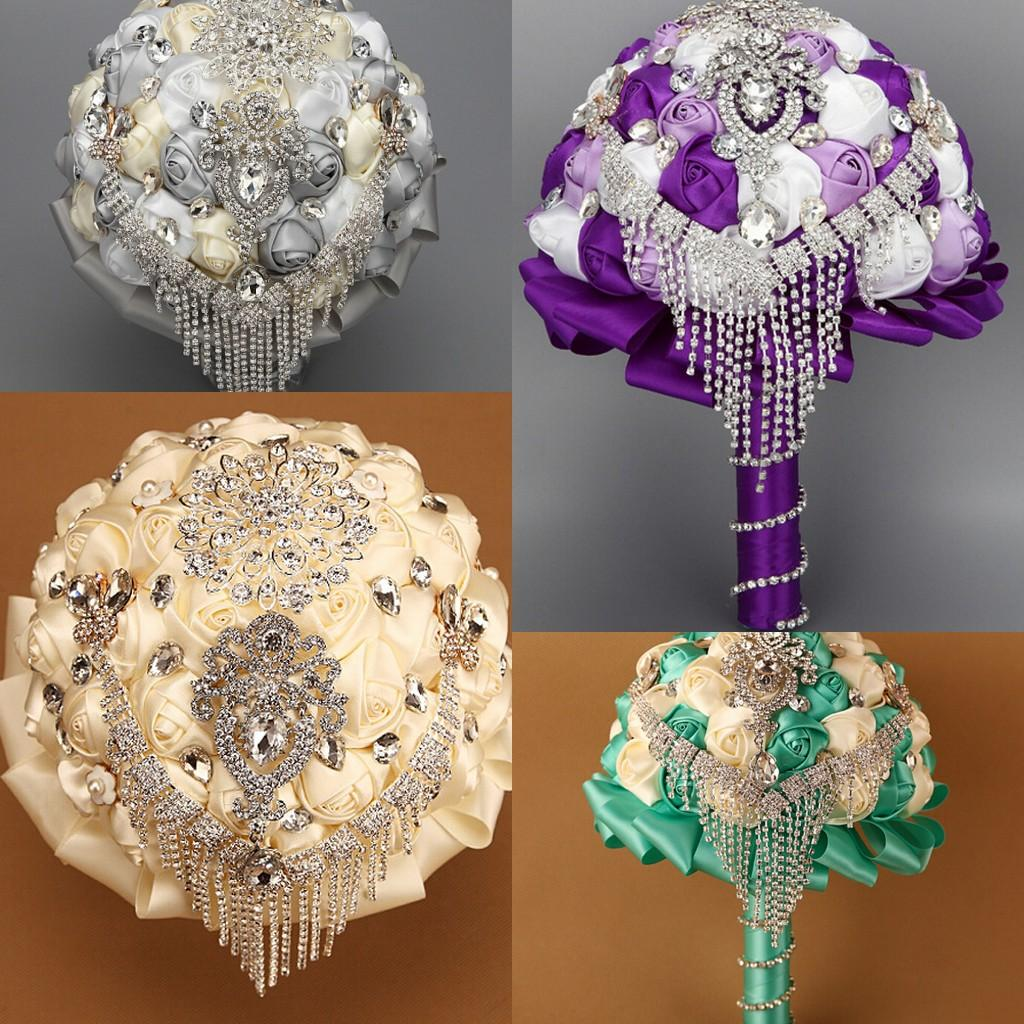 Crystal beads beach wedding bouquets for bride hand holding flowers 7 colors crystal beads beach wedding bouquets for bride hand holding flowers cheap wedding favors silk wedding bouquet flowers 2015 izmirmasajfo Choice Image