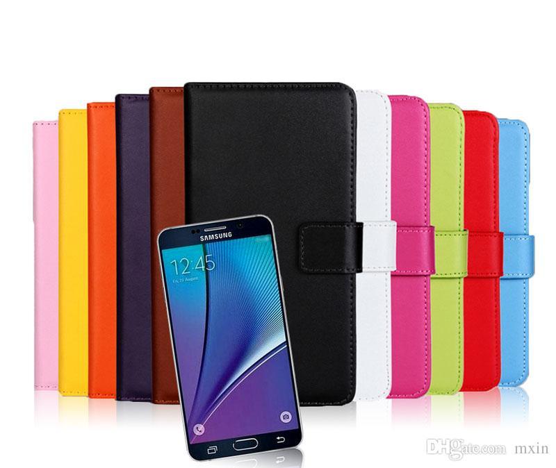 Galaxy Not 5 için Hakiki Gerçek Cüzdan Çevirme Deri Kılıf Kapak ile Kart Yuvaları Para Cep Samsung Not5 S6 Kenar Artı için Standı