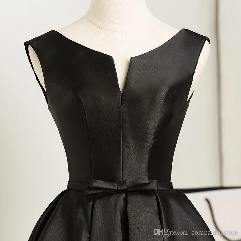 Elengant Black Taffeta Scoop Neck Backless Lace Up Sash Knee Length Ball Gown Sleeveless Prom Dress Onepiece Plus Size Vestido de fiesta