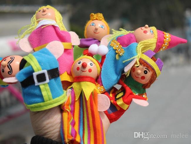 Fedex DHL KingQueen Morbido panno peluche Finger Puppet 6 Pz confezione 420 PZ / LOTTO Story Telling Burattini giocattoli dito I Bambini 0-3 Anni