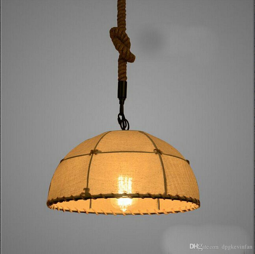 Großhandel Pendelleuchten Licht Rustikale Retro American Style Vintage  Stoff Tuch Industrie Pendelleuchten Startseite Dekorative Leuchte  Beleuchtung ...