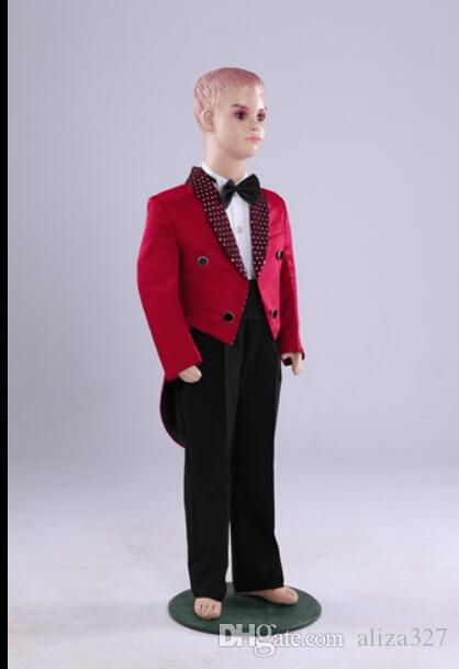 Child flower boy suits small boys red sequins tuxedo dress costumes suit children dress jacket+panys+tie+girdle custom made