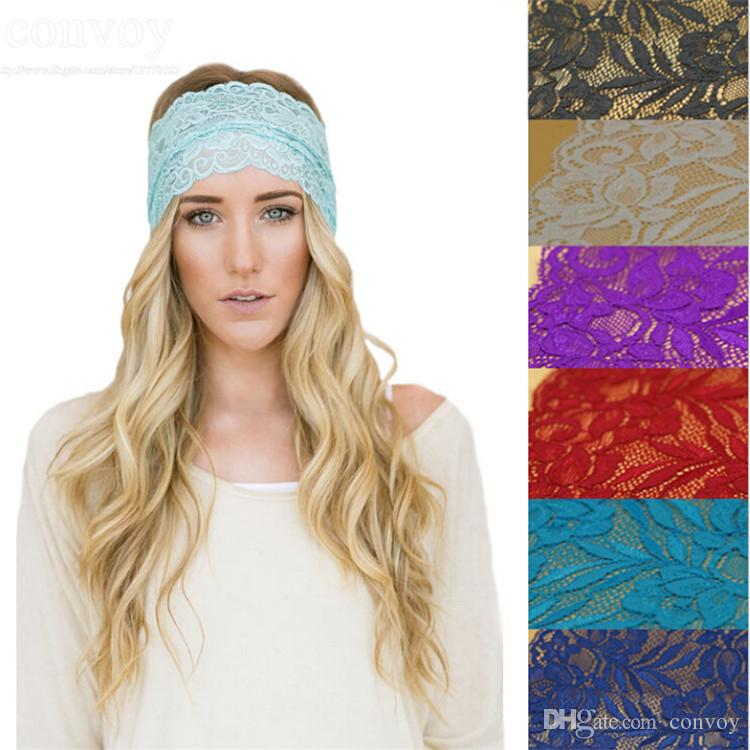 2019 New Lace Womens Crochet Lace Knit Hoop Wide Stretch Headband