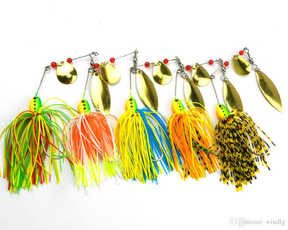 Hengjia Wholesale new 20pcs Double Piece Spinners fishing lures 14.3G 5 colors 4.7CM 1.7CM SB001