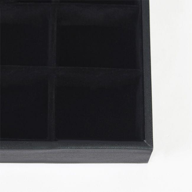 Tonvische variëteiten van hoge kwaliteit zwarte kunstleer ketting armband ring oorbel kralen monster compartiment sieraden tonen display lade houder