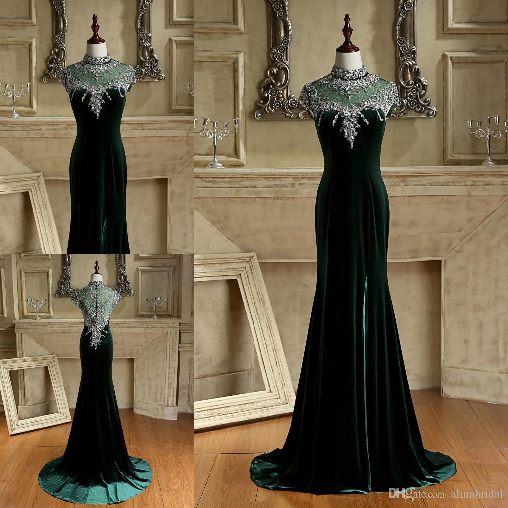 Beaded Collar Emerald Green Elegant Evening Dresses With High Neck ...