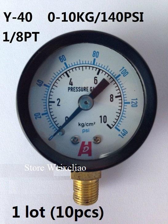 قياس الضغط 0-10 كيلوجرام / 140 psi 1/8PT ل مضخات المياه آلة كهربائية مقياس الضغط المانومتر 1 وحدة 10 قطع شحن مجاني