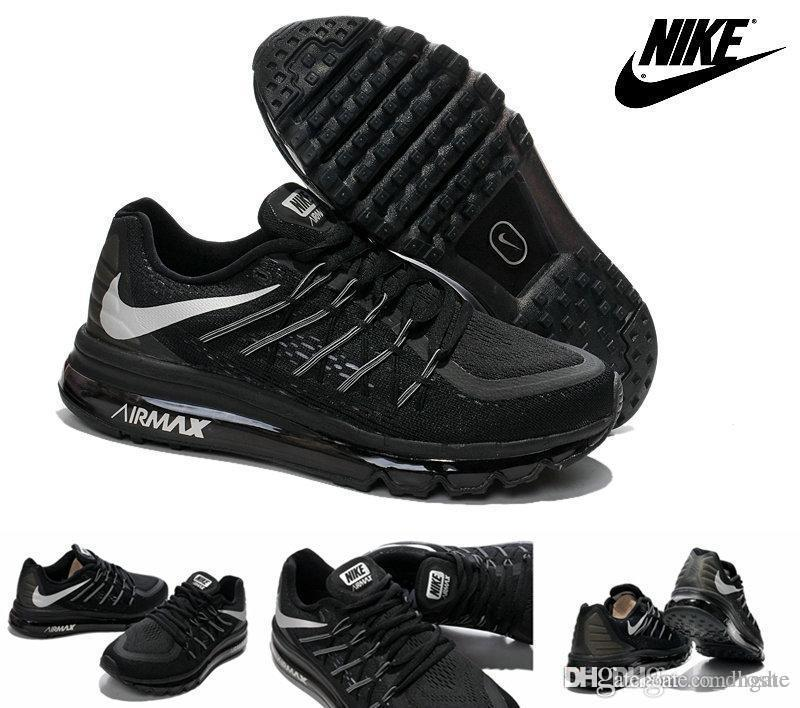 ef394c4b4bc Compre Nike Air Max 2015 Para Hombre De Los Zapatos Corrientes De Los Zapatos  De Plata Negro