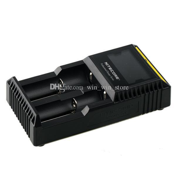 Orijinal Nitecore D2 LCD Digicharger Evrensel Akıllı Şarj 18650 14500 Için 16340 18350 Li-Ion Ni-MH Pil ABD / AB / İNGILTERE Fiş