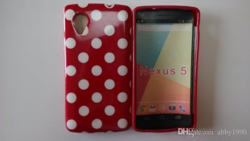 Wholesale Fashion Polka Dots Soft TPU Gel Cover Case for LG Nexus 5 E980