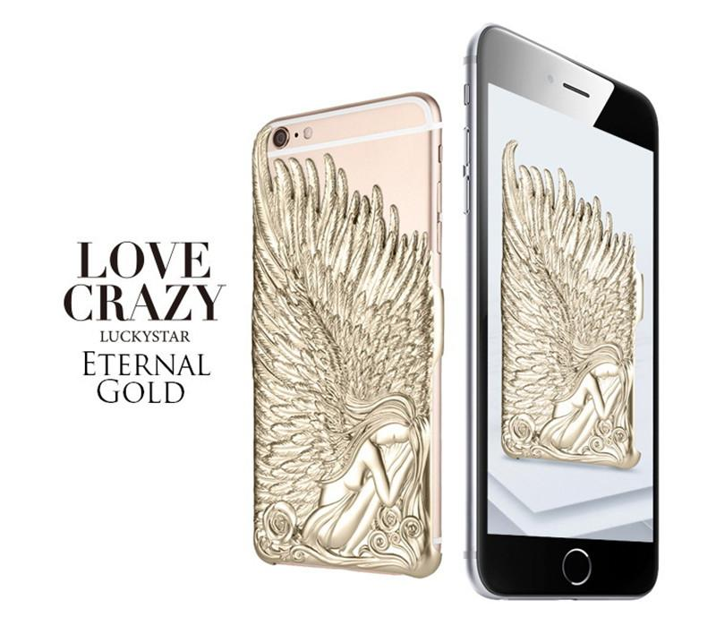 3D Embossed Luxe Lucky étoiles Angel ailes Phone Case Love Crazy pour iPhone 5 S6 6S Plus