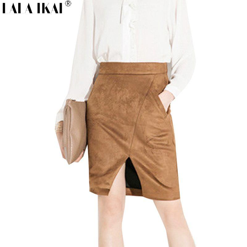 2017 Asymmetric Wrap Tan Suede Skirt Women High Waist Elasticity ...
