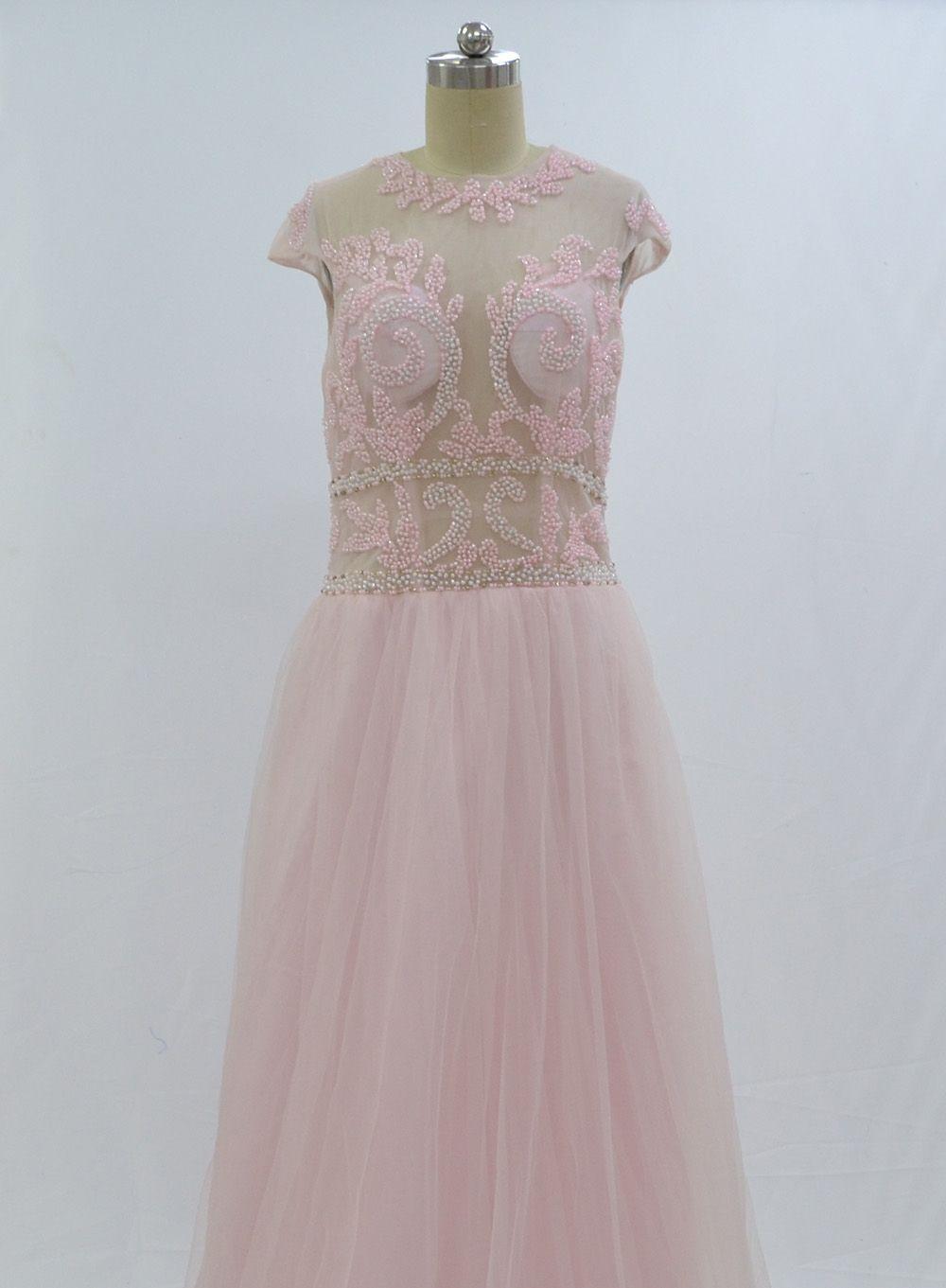 Vestido De Formatura Abiti da sera eleganti con maniche a cappuccio Abiti da cerimonia con scollo a cuore rosa Tulle Prom 2018