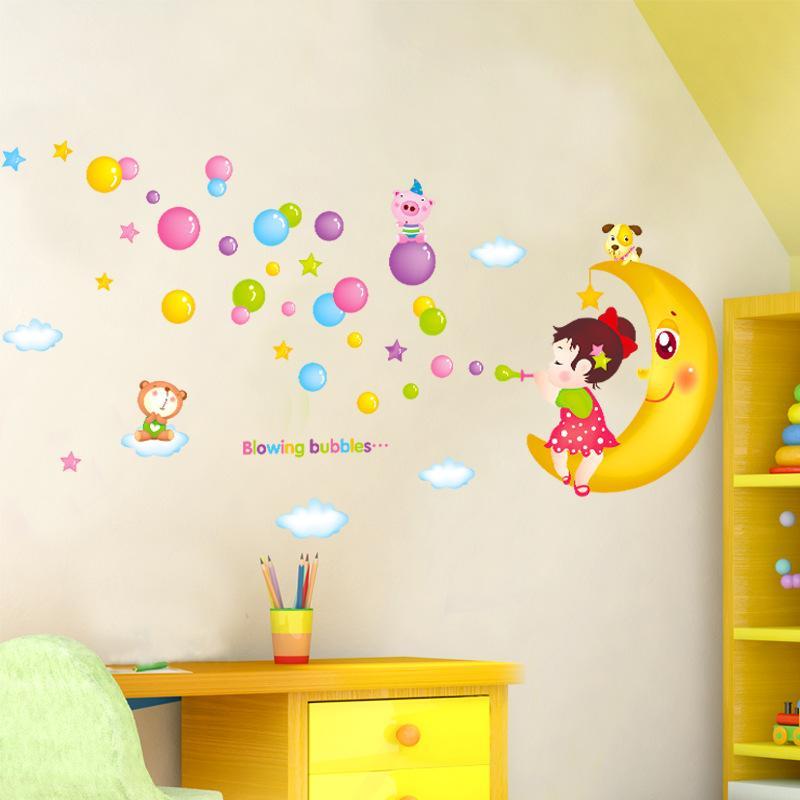 Blowing Bubbles Girl On The Moon Wall Art Mural Decor Sticker Cartoon Girl  Moon Bear Wall Decal Applique Kids Room Nursery Wall Poster Wall Decors Wall  ...