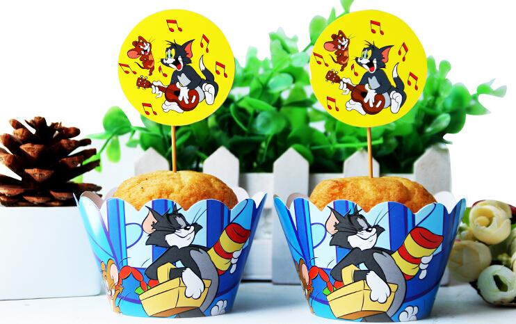 Tom And Jerry Cupcake Wrappers Decoration Birthday Party Favors For