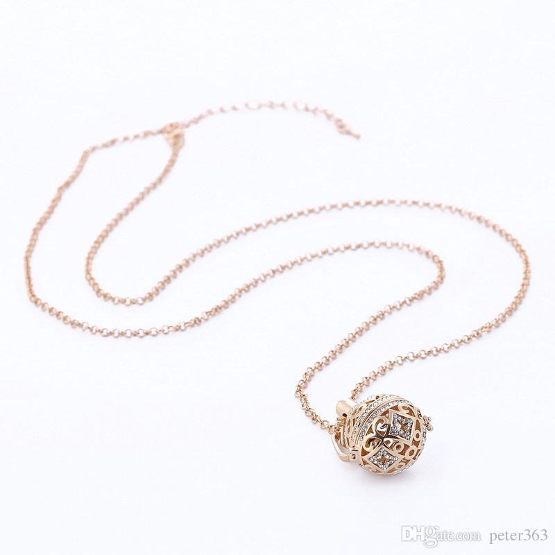 Aromaterapia Aceite Esencial Cristalino Difusor Collares Mujeres Oro Blanco K Rosa Oro Difusor Locket Collar Joyería de Moda