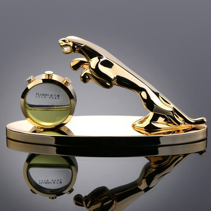 Luxury Car Seat Perfume Car Perfume Golden Leopard Fashion Personality Stainless Steel Inner Jaguar Car Perfume Jewelry Car Accessories Interior Organizers ...
