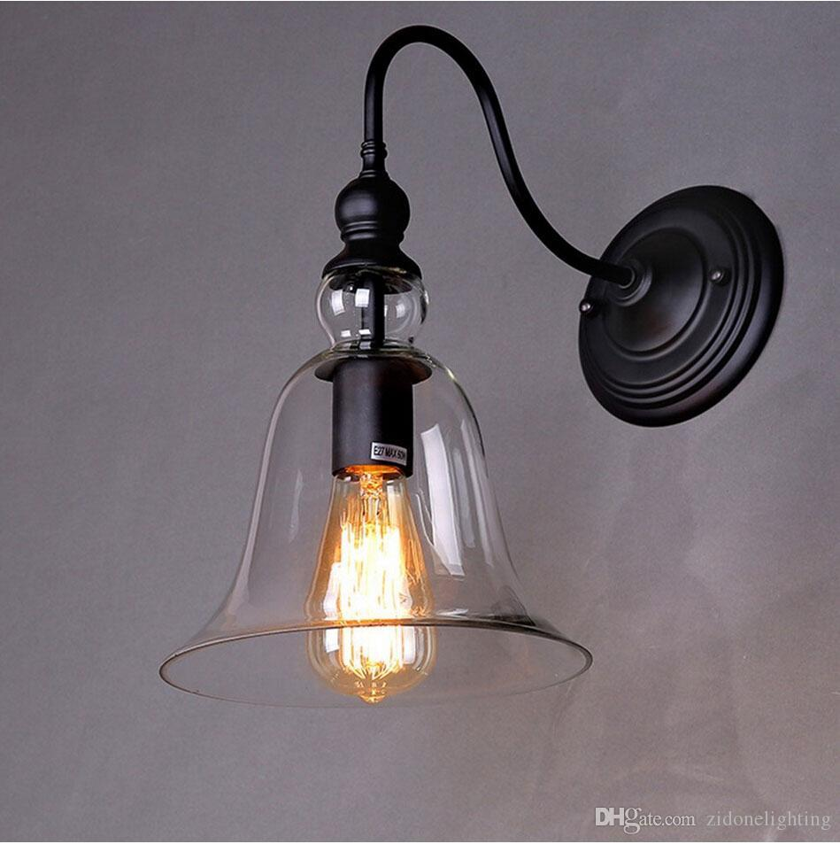 Shop wall lamps online rh loft vintage bell shape loft glass wall shop wall lamps online rh loft vintage bell shape loft glass wall sconce clear glass shade wall lights barcafe storehome wall lamp decor hot bending with aloadofball Gallery