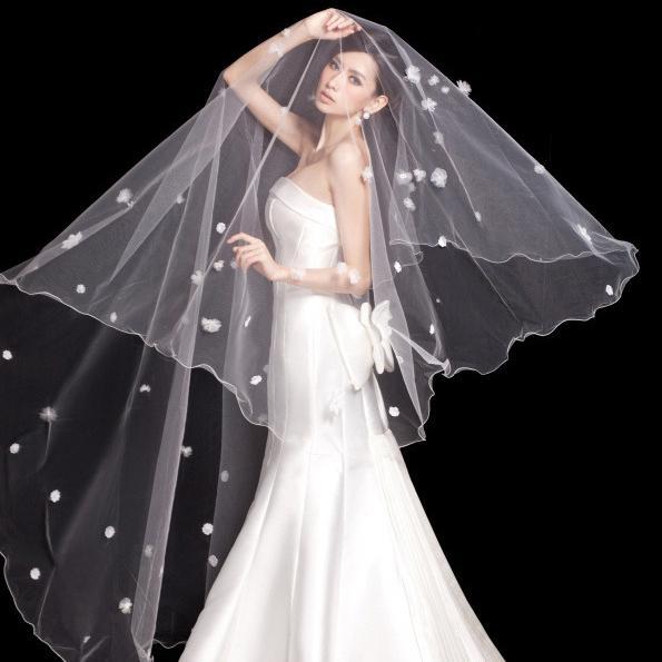 White Tulle Bridal Veils 3 Meter Length Petal Flowers Appliques
