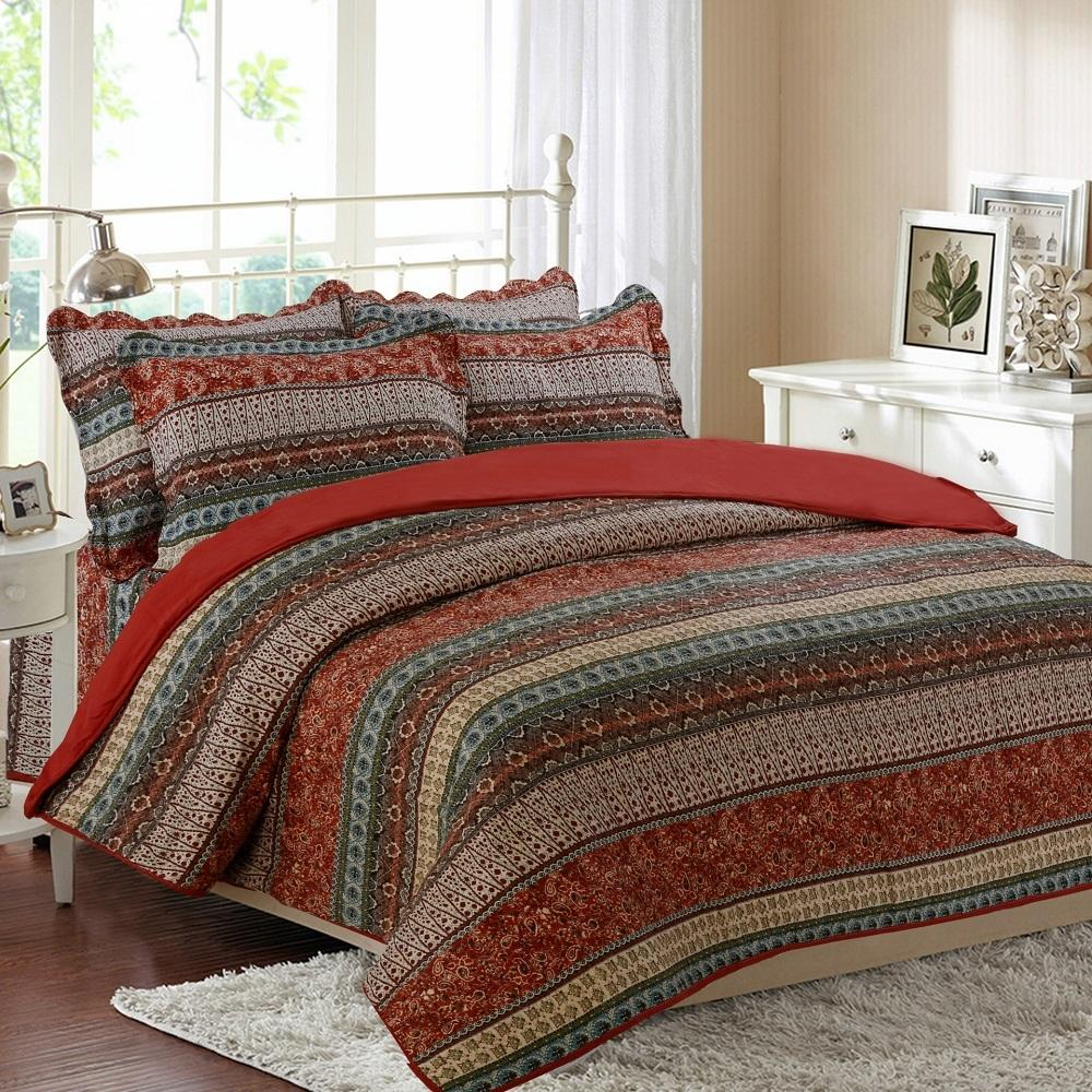 queen vhc itm bedding brown ebay lrg set landon country piece quilt red
